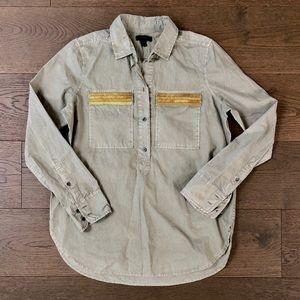J.Crew Beaded Chevron Green Popover Vintage Shirt